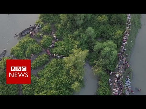 Rohingya crisis: Drone footage shows thousands fleeing - BBC News