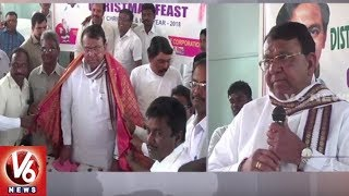 Pocharam Srinivas Visits Banswada Church, Distributes Clothes For Poor Christians