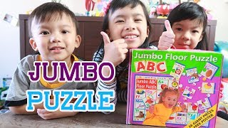 Kids Playing with ABC Jumbo Floor Puzzle Toy - Learn Letter for Toddler