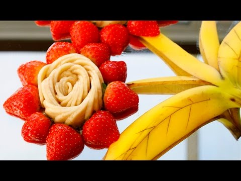 How to Make Banana Flower - Fruit Carving Garnish - Sushi Garnish - Food Decoration