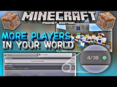MCPE 1.1 More Players in YOUR World! 30 Players with Command Blocks - (Minecraft Pocket Edition 1.1)