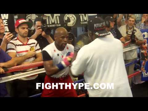 FLOYD MAYWEATHER RIPS SHOTS TO THE BODY AT MEDIA DAY FOR MARCOS MAIDANA FIGHT