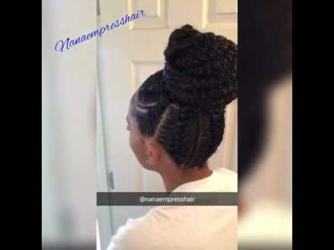 feed in braids into a bun youtube