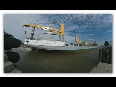 timelapse heavy load crane ship ANNEMIEKE 360° VR pan fone or navigate with mouse