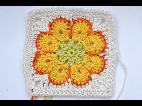 "How to Crochet * Granny Square ""Somalia"" * African Flower * Paperweight"