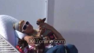 Paris Hilton & pets at the beach