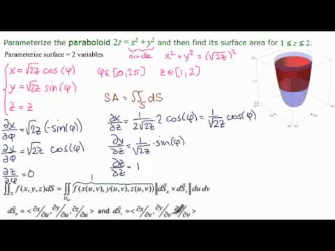 Surface Integral - Parameterized Paraboloid - Example 2