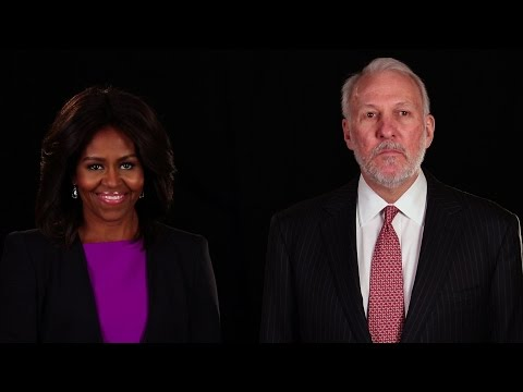 First Lady Michelle Obama & Coach Gregg Popovich of the Spurs Team Up for Joining Forces