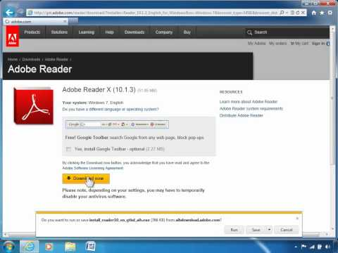 How to download and install the Adobe PDF Reader software