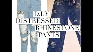 D.I.Y TopShop inspired Rhinestone Jeans