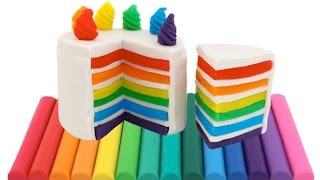 Modelling Clay Rainbow Cake Creative Fun for Kids with Play Dough DIY RainbowLearning