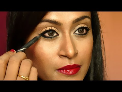 How To Apply Winged Liner Using Pencil/Kajal