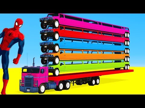 Colors for Kids Spiderman & LONG CARS Vehicles Car - Learn Colours for Children Nursery Rhymes