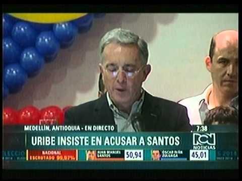 FUERTE DISCURSO DE ALVARO URIBE CONTRA EL PRESIDENTE REELECTO JUAN MANUEL SANTOS