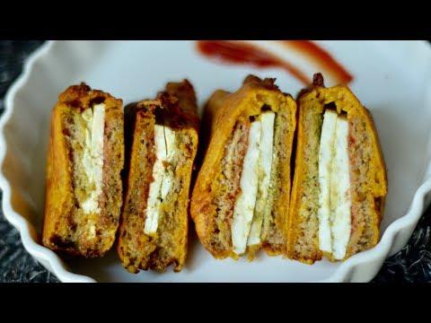 हलवाई जेसा स्टफ्ड ब्रेड पॅकोरा | Bread Paneer Pakora | Stuffed Paneer Pakora Recipe in Hindi