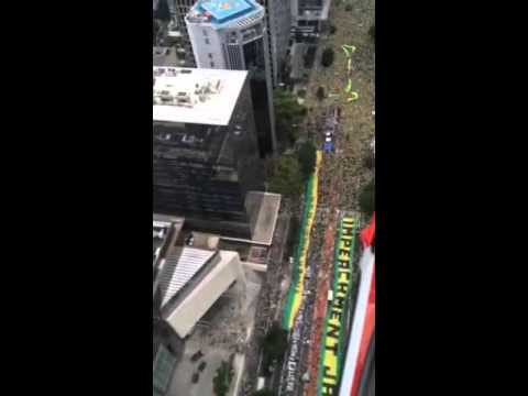 Drone footage- Protest on Avenida Paulista in São Paolo, Brazil 3/19/2016