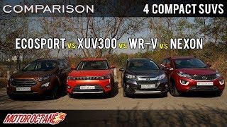 Mahindra XUV300 vs Tata Nexon vs Ford EcoSport vs Honda WRV | Petrol Comparison | MotorOctane
