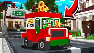 DELIVERING PIZZA IN MINECRAFT! WORKING AT PIZZA PLACE!