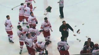 Crazy Hockey Team vs Team Fight - Fans Throwing Things | 2016 IIHF U18 Bulgaria vs Turkey