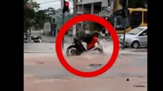 Top Trending Portal - Shocking video: Biker Fall in the manhole