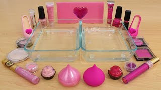 Pink vs Pink - Mixing Makeup Eyeshadow Into Slime! Special Series 152 Satisfying Slime Video