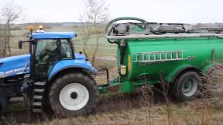 Slurry Transport New Holland T8.360 Samson PG25 Danish Agriculture