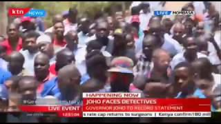 Governor Joho and his Mombasa army of supporters after answering to allegations charges at the DCIO