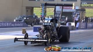RUSSELL MILLS TOP ALCOHOL DRAGSTER 5.81 @ 224 MPH SYDNEY DRAGWAY 28.9.2014