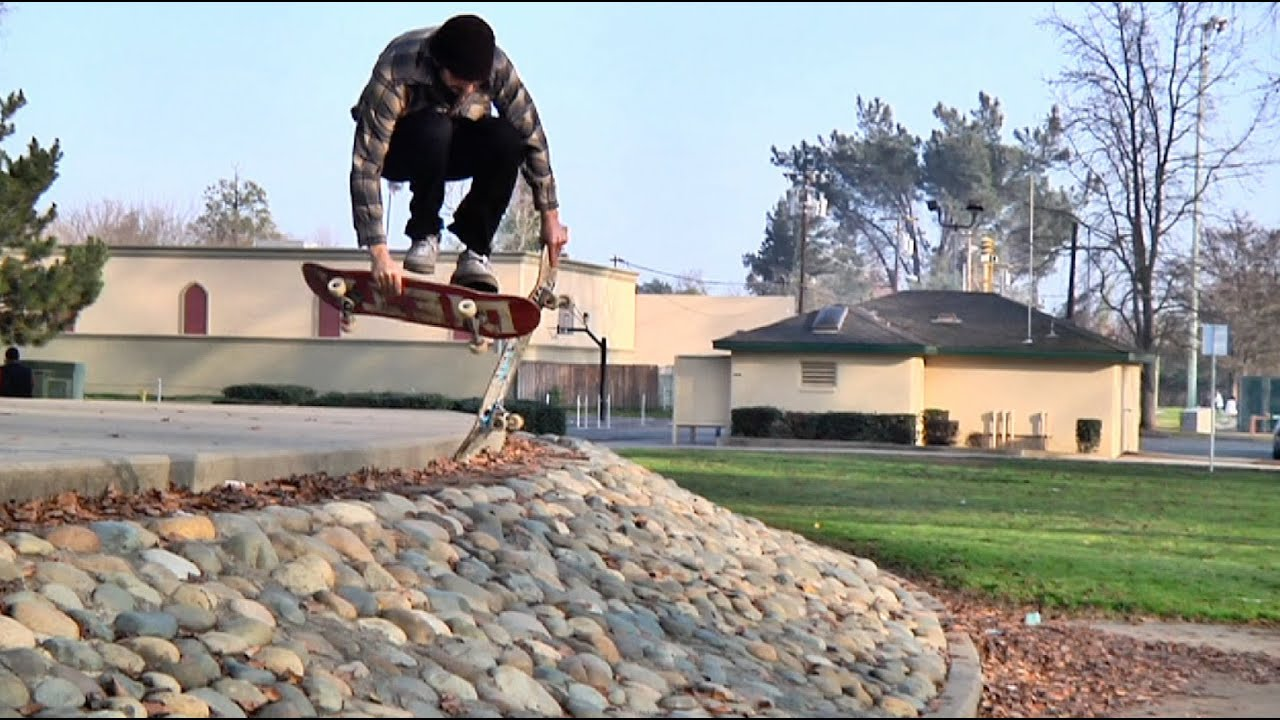 """Board Juggle"" Nose Grab to ACID DROP Down Gap - Behind The Clips - Jimmy Larsen"