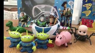 Toy Story 1995 action figures and spaceship. Disney Pixar Thinkway Toys and Mattel