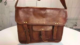 Real Goat Leather Laptop Messenger Bag Briefcase Satchel by handmadecraft review