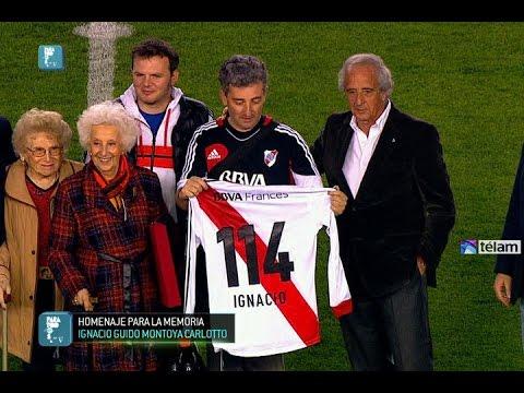 Ignacio Guido, nieto recuperado de Estela de Carlotto, fue homenajeado en el estadio Monumental