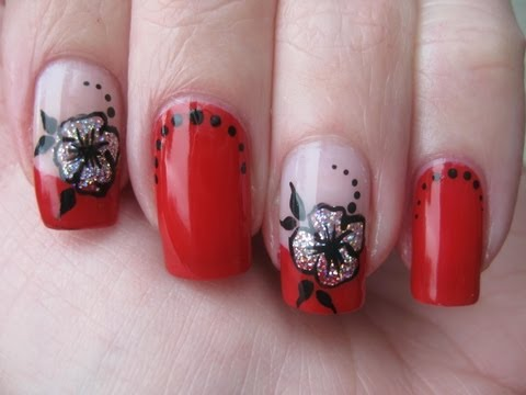 Nail art: Red french with holo flower