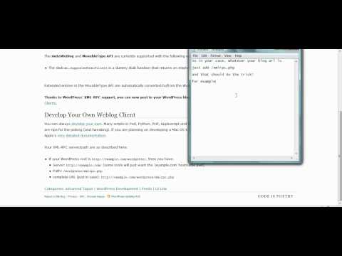 XML RPC and Wordpress - Settings