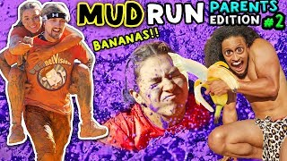 TARZAN ON OBSTACLE COURSE VIDEO!  FUNnel Family Mud Run Parent's Edition  SQUISHY WATER