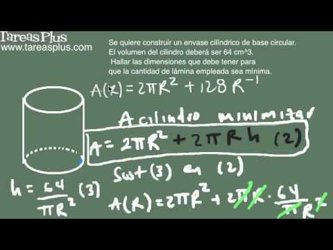 Aplicación máximos y mínimos (cilindro circular) parte 3