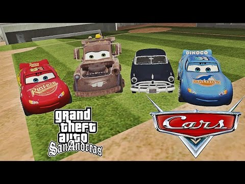 The Cars movie MIX: Lightning McQueen.Dinoco .Hudson Hornet. Mater  GTA San Andreas