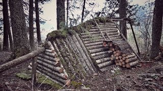 Winter Survival Shelter - Firewood processing and snow preparations