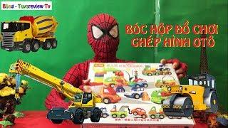 Siêu nhân nhện và đồ chơi ghép hình phương tiện giao thông, đồ chơi otô, Bông-toysreview-tv
