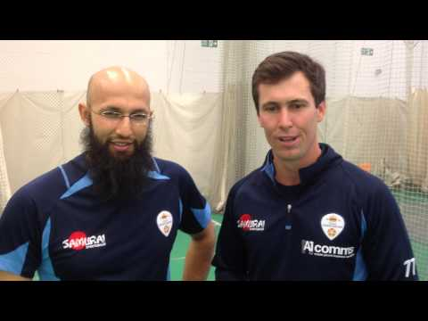Hashim Amla is welcomed to Derbyshire CCC by Wayne Madsen