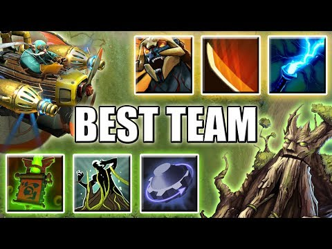 Double Ultimate Team [Super Carry GYRO + Imba Support TREANT] Dota 2 Ability Draft