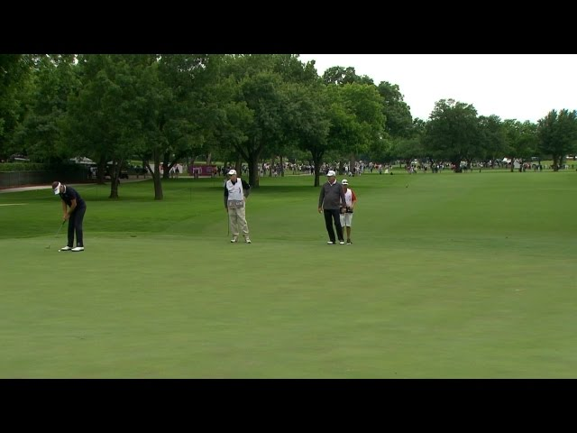 Ian Poulter makes his lengthy birdie putt on No. 3 at Crowne Plaza