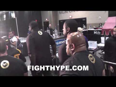 BEHIND THE MAYHEM PART 1 FLOYD MAYWEATHER ARRIVES AT MGM GRAND GARDEN ARENA FOR MAIDANA REMATCH