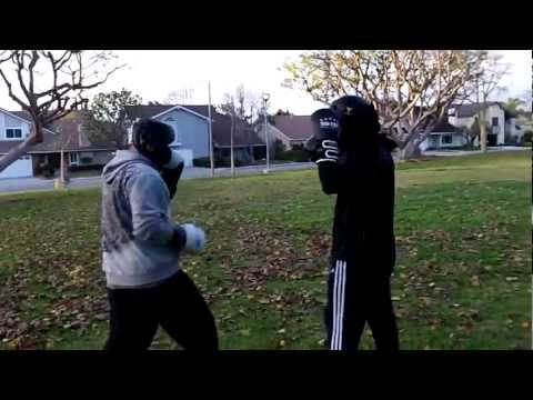 Tai Chi San Shou (black gloves) vs Tang Soo Do Karate - hands only, round 1/2 Image 1