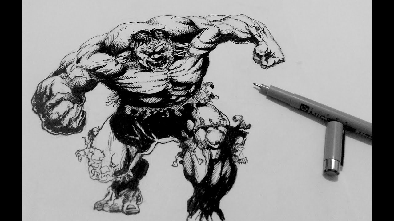 How to Draw Superheroes | How to ink the Incredible Hulk ...