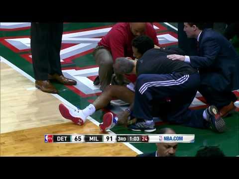 Brandon Jennings Achilles Injury. Pistons vs Bucks [2015.01.24]