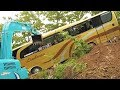 Bus Crash Recovery By Excavator Kobelco SK75 And CAT 320D2 Extended