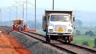 UNIQUE TRUCK ON RAILS INDIAN RAILWAYS CONSTRUCTION SITE