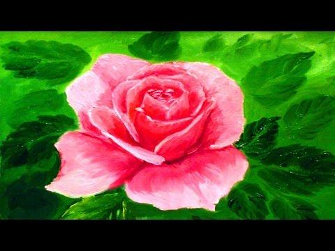 Видео как нарисовать розу красками