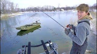 Winter Fishing FAIL (breaking the ice)